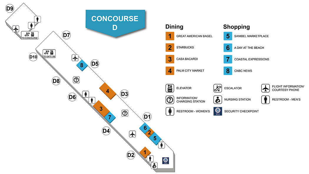 Southwest Florida International Airport Concourse D Map and Index