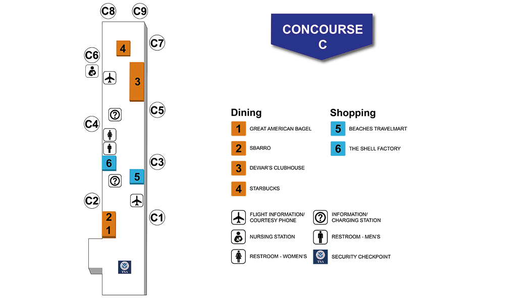 Southwest Florida International Airport Concourse C Map and Index